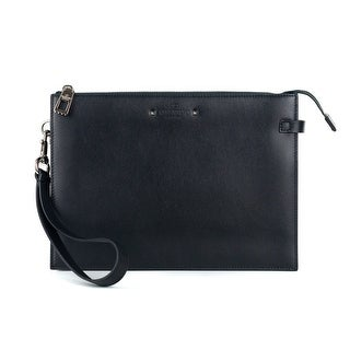 Valentino Black Leather Handle Flat Pouch - One size
