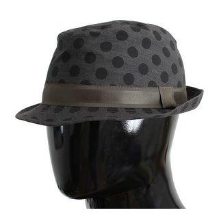 Dolce & Gabbana Gray Polka Dotted Wool Fedora Trilby Hat