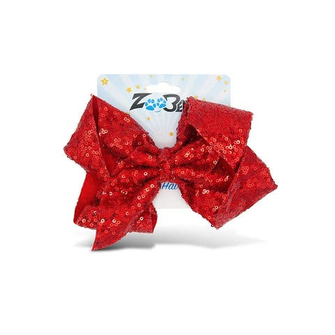 Zoo Beast Signature Collection Giant Sparkly Red Sequin Hair Bow on Aligator Clip