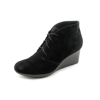 Clarks Crystal Peri Women Open Toe Suede Black Wedge Heel
