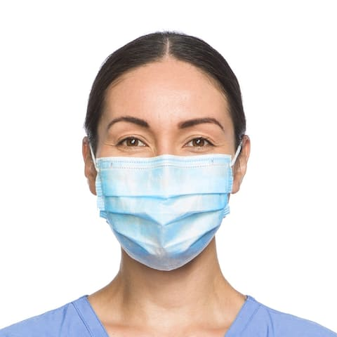 50pcs Disposable Triple Ply Filtered Non-Woven Cloth Face Mask w/ Ear-loop (Blue)