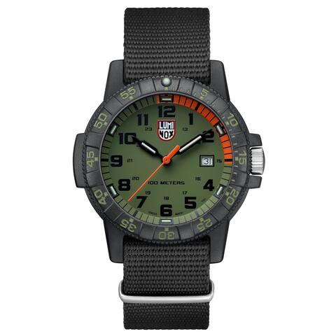 Luminox Men's XS.0337 Leatherback Sea Turtle Black/ Green Dial Black Webbing Strap Watch