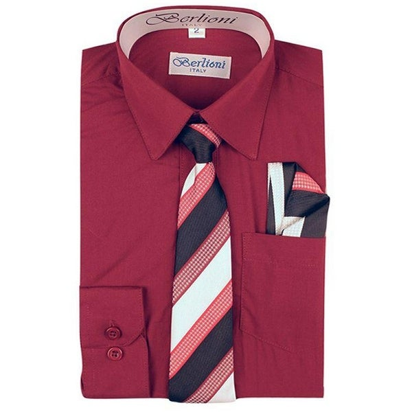 06014dff9 Shop Berlioni Boys Burgundy Striped Necktie Hanky 3 Pc Dress Shirt Set -  Free Shipping On Orders Over $45 - Overstock - 27212087