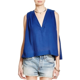 Free People Womens Darcy Super V Knit Blouse, blue, X-Small