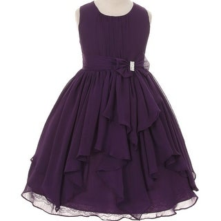 Flower Girl Dress Chiffon with Asymmetric Ruffle Purple KK 2040
