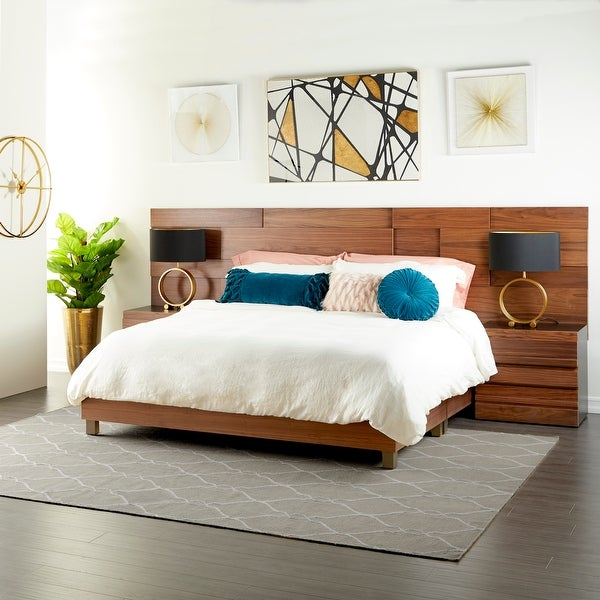 """Contemporary Natural Wood Queen Platform Bed Frame, 81"""" x 63"""". Opens flyout."""