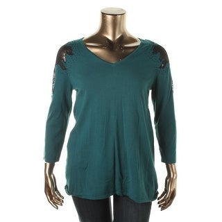 Cable & Gauge Womens Lace Trim V-Neck Pullover Sweater