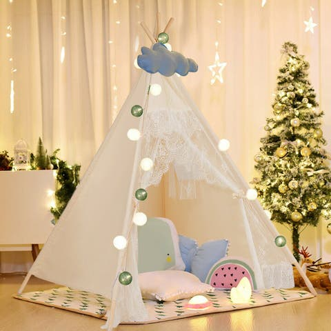 Kids Lace Teepee Tent Folding Children Playhouse W/Bag