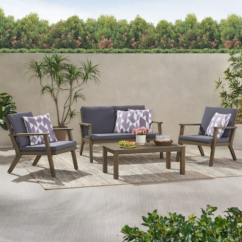 Temecula Outdoor Acacia Wood 4 Seater Chat Set with Cushions by Christopher Knight Home