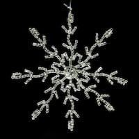 "5.5"" Glamour Time Silver Rhinestone Embellished Decorative Snowflake Christmas Ornament"