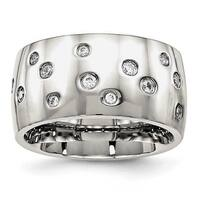 Stainless Steel Polished CZ Ring (12 mm)