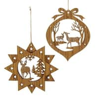 """Club Pack of 24 Wooden Brown Christmas Tree and Moose Ornaments 5.9"""""""