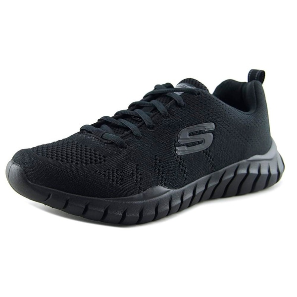 Skechers Overhaul-Debbir Men Round Toe Synthetic Black Sneakers