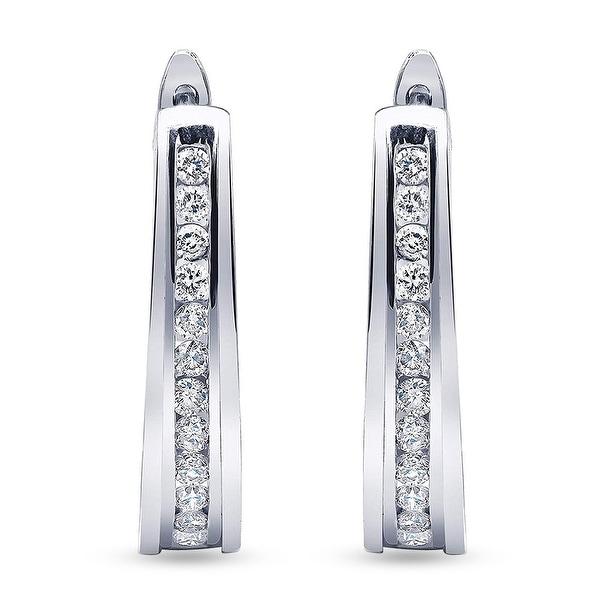 1/2 Carat Diamond, Channel-Set Sterling Silver Hoop Earring In Lab Grown Diamonds (I, SI1) by Grown Brilliance. Opens flyout.