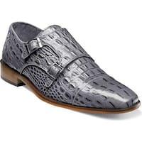 Stacy Adams Men's Golato Cap Toe Double Monk Strap 25117 Grey Hornback Print Leather