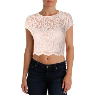 Speechless Womens Crop Top Lace Short Sleeves - m