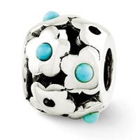 Sterling Silver Reflections Turquoise Flowers Bead (4mm Diameter Hole)