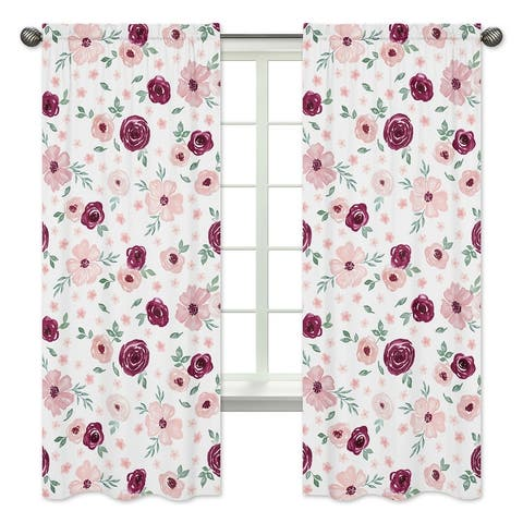 Burgundy Pink Watercolor Floral 84in Window Treatment Curtain Panel Pair - Blush Maroon Rose Green Shabby Chic Flower Farmhouse