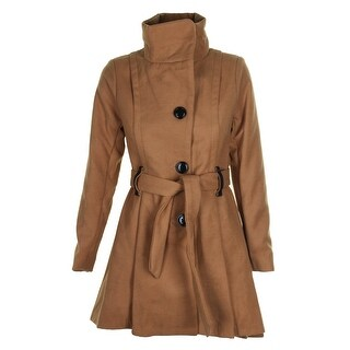 Madden Girl Juniors Camel Faux-Leather-Trim Skirted High Low Coat S