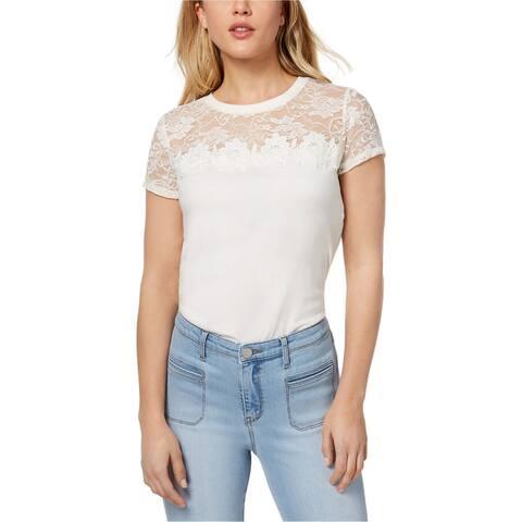 Maison Jules Womens Lace-Yoke Basic T-Shirt