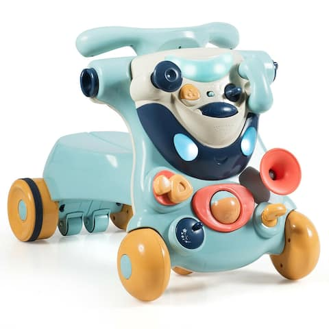 2-in-1 Baby Activity Center Sit-to-Stand Walker-Blue