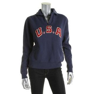 Polo Ralph Lauren Womens 1/2 Zip Sweater Fleece Applique