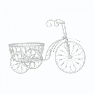 White Tricycle Bicycle Planter