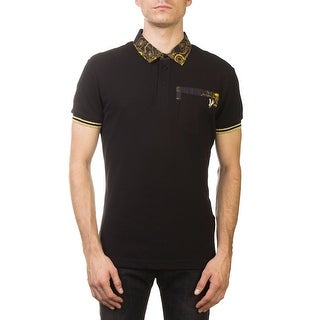 Versace Jeans Couture Pique Cotton Ribbed Baroque Polo Shirt Black Gold