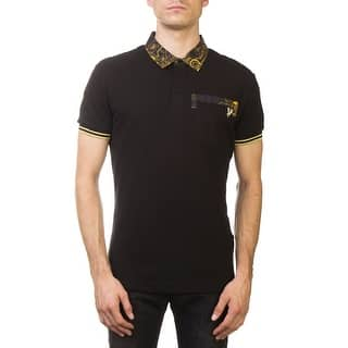 7c3a67c3595 Versace Jeans Couture Pique Cotton Ribbed Baroque Polo Shirt Black Gold