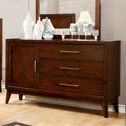 Furniture of America Nace Transitional Brown Cherry 3-drawer Dresser