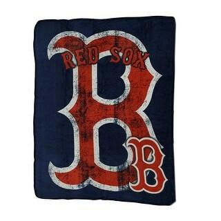 MLB Boston Red Sox Micro Raschel Plush Throw Blanket 46 x 60 inch - Blue