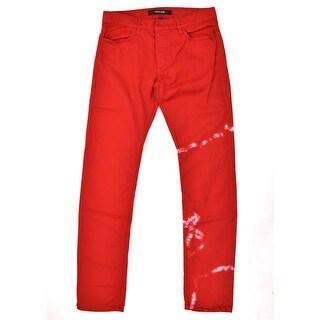 Roberto Cavalli Red Cotton Acid Washed Slim Fit Denim Jeans - 32