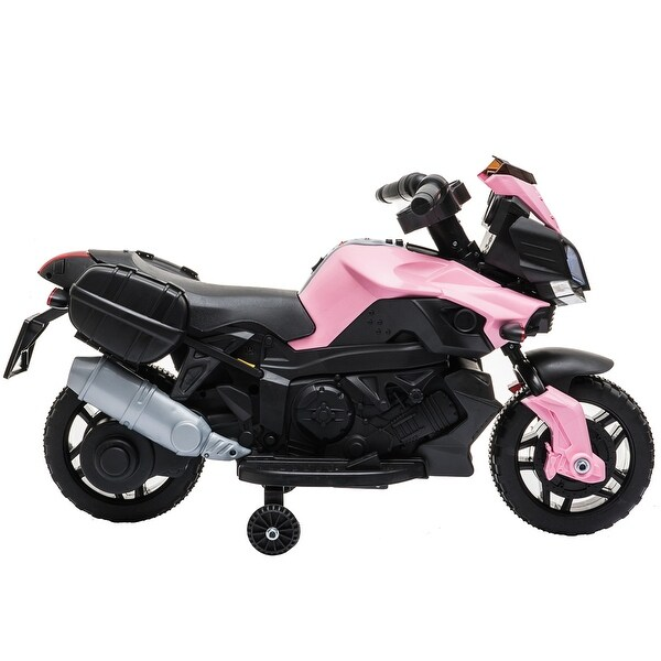 """Kids Electric Motorcycle Ride-On Toy 6V Battery Powered with Music - 7'6"""" x 9'6"""". Opens flyout."""