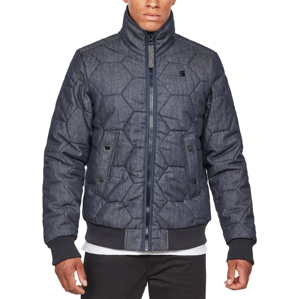 G Star Raw Mens Jacket Navy Denim Quilted Bomber Whistler Size XL