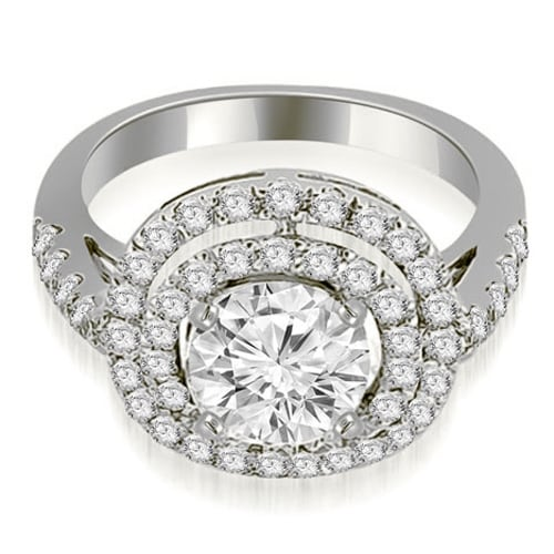 1.10 cttw. 14K White Gold Double Halo Round Cut Diamond Engagement Ring