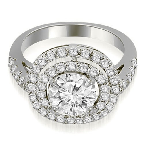 1.35 cttw. 14K White Gold Double Halo Round Cut Diamond Engagement Ring