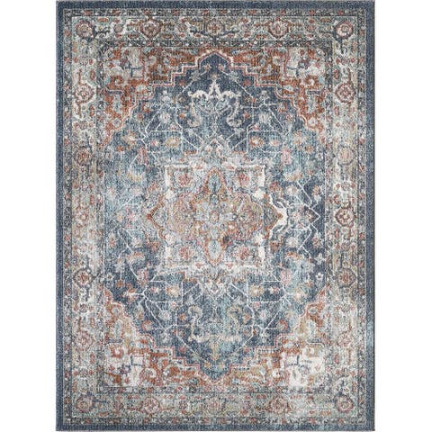 Saxby Red and Blue Woven Area Rug