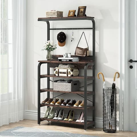 Entryway Coat Rack with 4 Tier Shoe Rack, 3 In 1 Design Hall tree with Storage Shelves - 31.49L x 11.81W x 62.99H