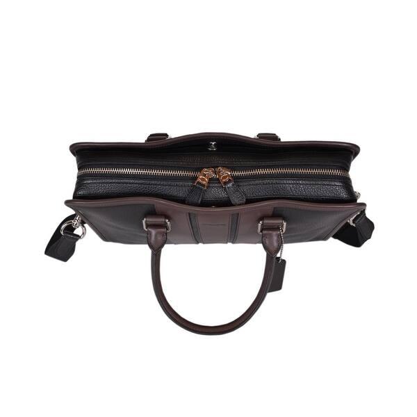 24a82b975 Coach Men's F72308 Black Pebbled Leather Crossbody Briefcase Bag - 16 1/4