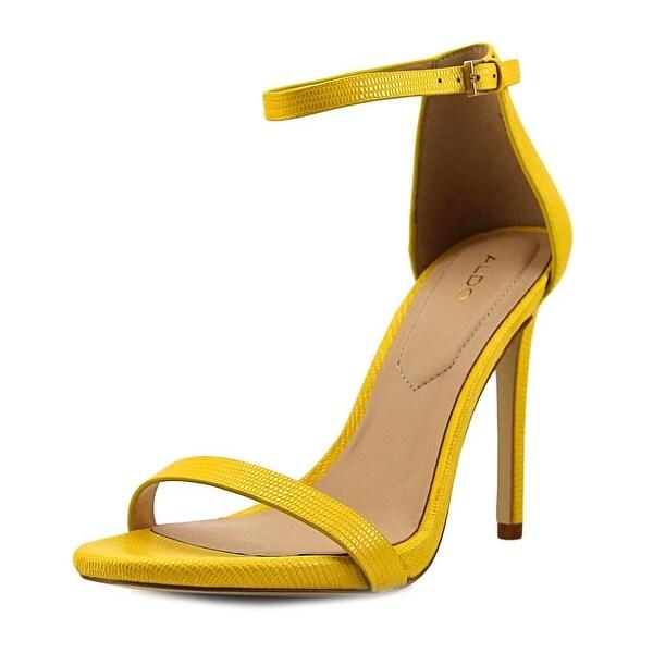 96471e4a12fc8 Shop Aldo Caraa-68 Women Open-Toe Leather Yellow Heels - Free ...