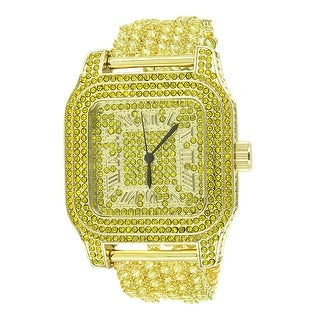 Hip Hop Iced Out Watch Techno Pave Gold Tone Canary Lab Diamonds Rapper
