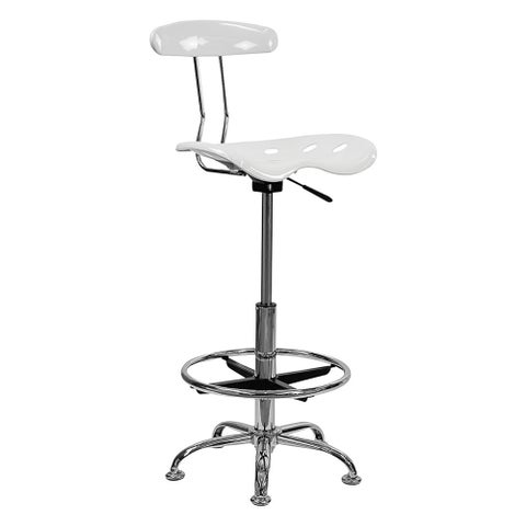Offex Vibrant White and Chrome Drafting Stool with Tractor Seat [OF-LF-215-WHITE-GG]