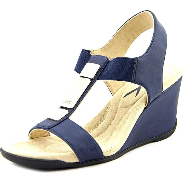 Anne Klein Loona Women  Open Toe Synthetic Blue Wedge Sandal