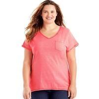 Just My Size 90563031900 Short-Sleeve V-Neck Womens Pocket Tee Shirt - LW 2X