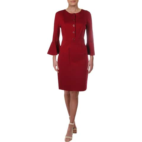 Elie Tahari Womens Oceana Cocktail Dress Bell Sleeve Knee-Length - Red Velvet