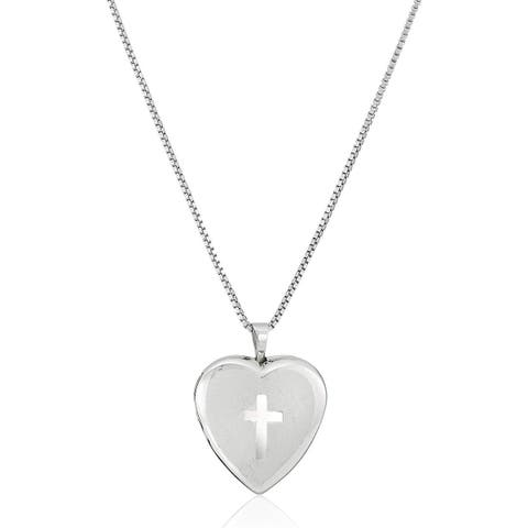 Etched Cross Heart Locket Pendant in Sterling Silver - White