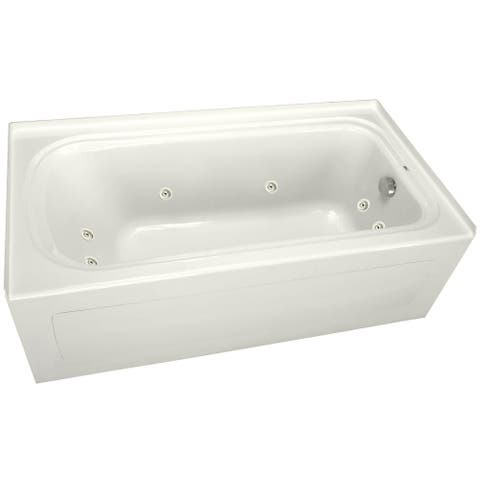 """PROFLO PFW6032ARSK 60"""" x 32"""" Alcove 8 Jet Whirlpool Bath Tub with Skirt, Right Hand Drain and Right Hand Pump"""