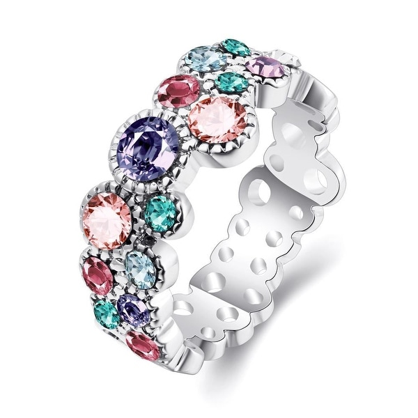White Gold-Plated Sorbet Flavor Eternity Ring