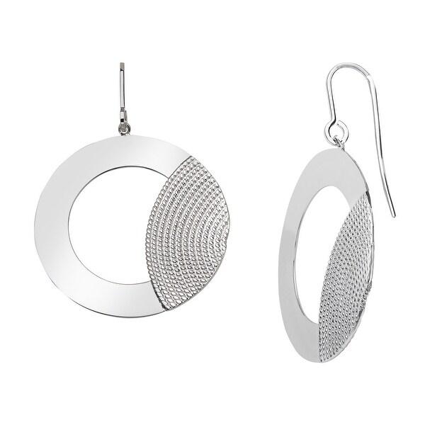 Textured Drop Hoop Earrings in Sterling Silver - White