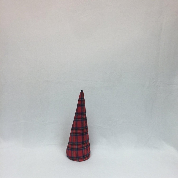 "15"" Red Plaid Inflatable Christmas Tree Shaped Ornament"